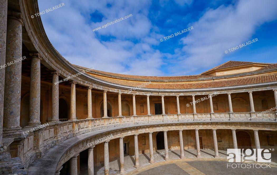 Photo de stock: Alhambra Carlos V courtyard in Granada of Spain Andalusia.