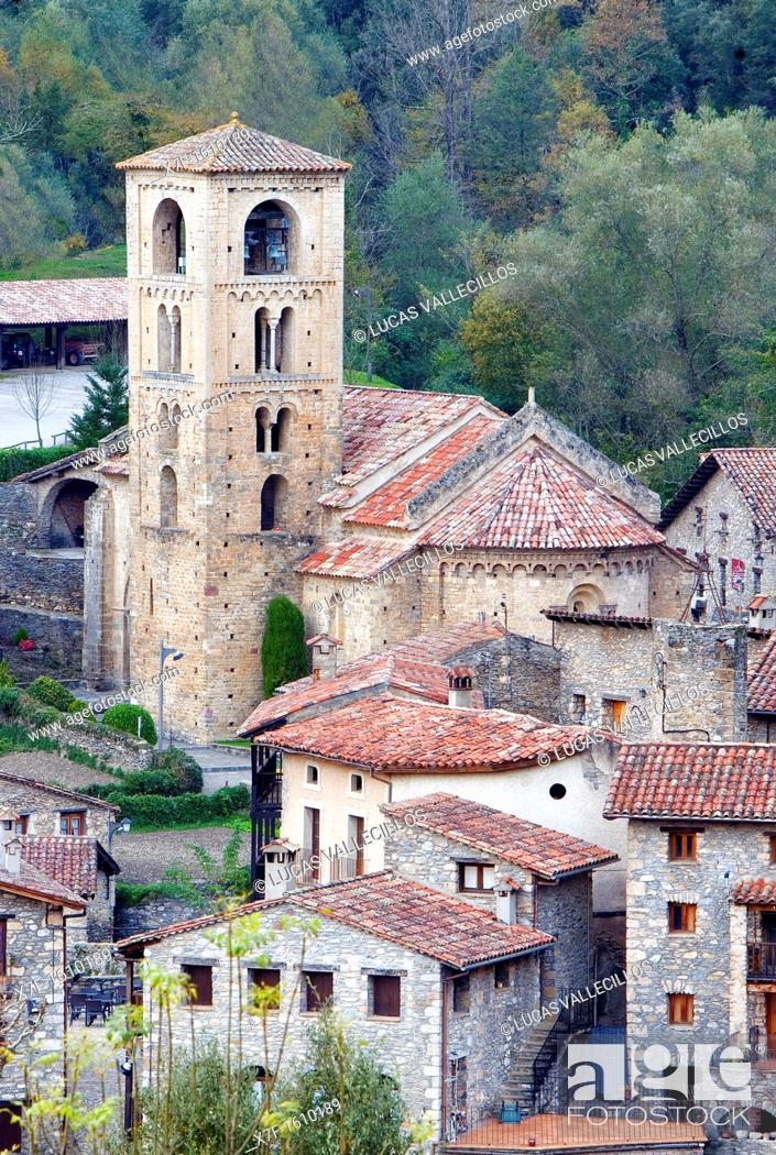 Stock Photo: Romanesque church of Sant Cristòfol s  XII, Beget  Garrotxa, Girona, Catalonia, Spain.