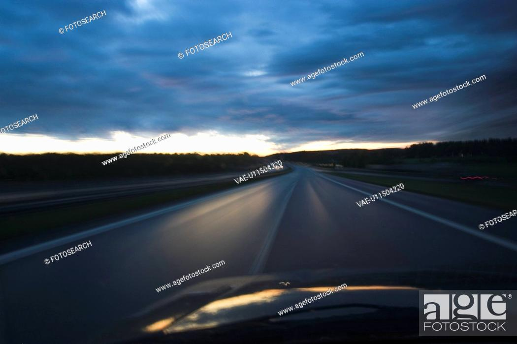 Stock Photo: Car, Horizon, Highway, Clouds, Automobile.