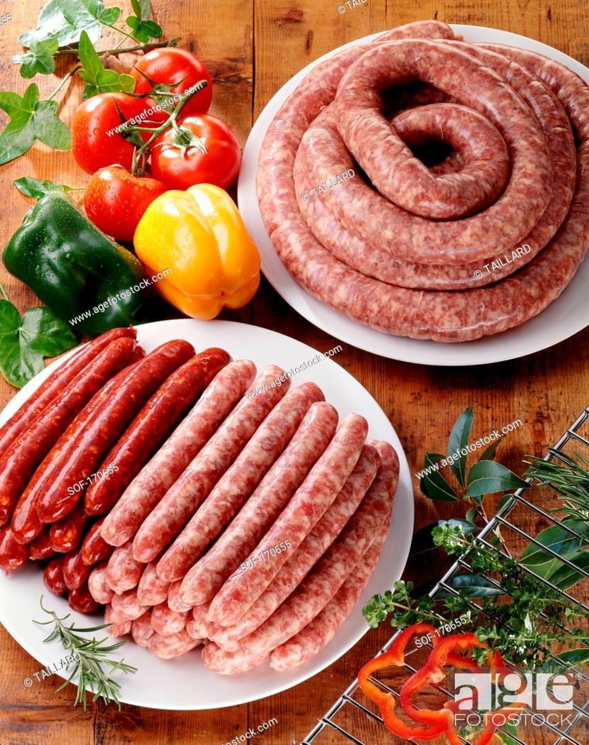 Stock Photo: Variety of raw sausages.