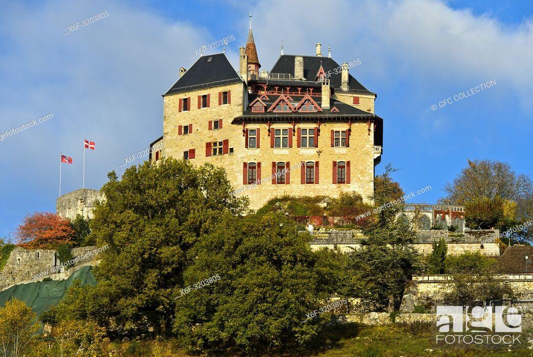 Photo de stock: Castle of Menthon-Saint-Bernard, Château de Menthon, Menthon-Saint-Bernard, Haute-Savoie, France.