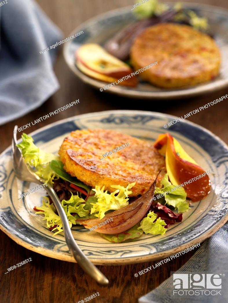 Stock Photo: veggie burger con chutney de mango.