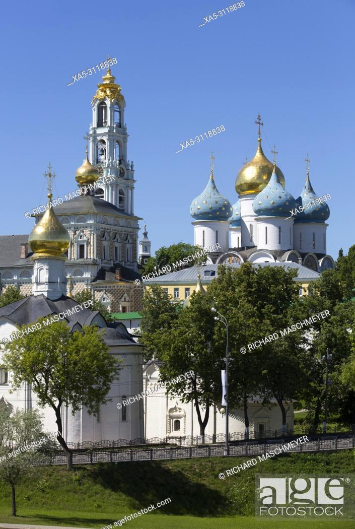 Stock Photo: Overview, The Holy Trinity Saint Serguis Lavra, UNESCO World Heritage Site, Sergiev Posad, Golden Ring, Russia.