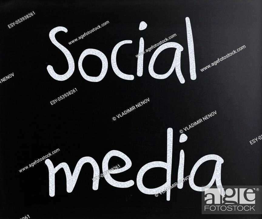 "Stock Photo: """"""""""Social media"""" handwritten with white chalk on a blackboard."