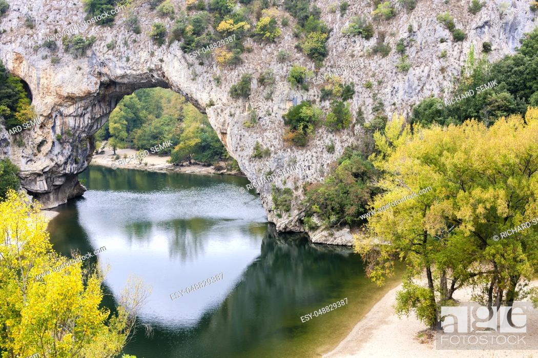 Stock Photo: Pont d'Arc with Ardeche river, Rhone-Alpes, France.
