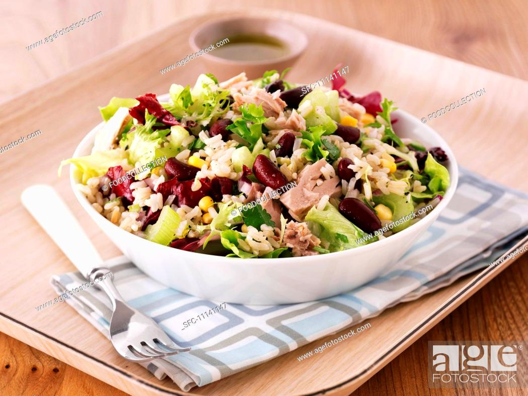 Stock Photo: Rice salad with tuna and kidney beans.