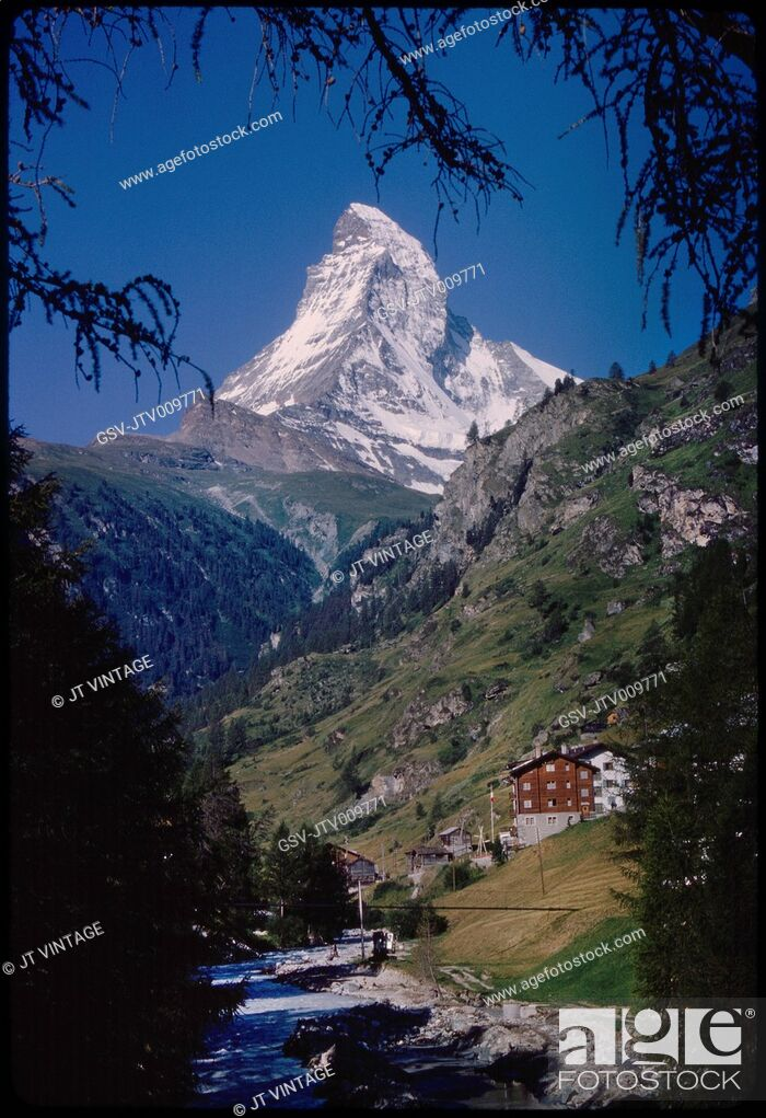 Imagen: Matterhorn Mountain and Valley, Zermatt, Switzerland, 1964.