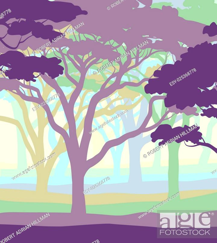 Stock Vector: EPS8 editable vector illustration of an open acacia woodland in pastel colors.