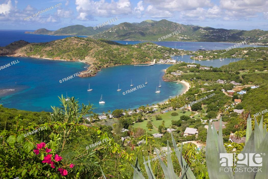 Stock Photo: View of English Harbour from Shirley Heights, Antigua, Leeward Islands, West Indies, Caribbean, Central America.