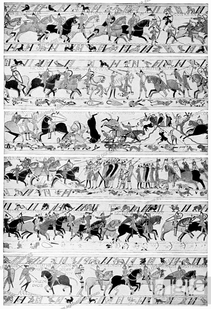 Stock Photo: The Bayeux Tapestry is an embroidery whose deisgns chronicle the Norman conquest of England in 1066. Worked on coarse linen, it measures 230 feet by 20 inches.