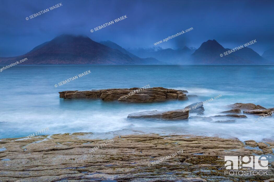 Stock Photo: Cuillins Hills across Loch Scavaig seen from the beach of Elgol, Isle of Skye, Inner Hybrides, Highland, Scotland, United Kingdom, Europe.
