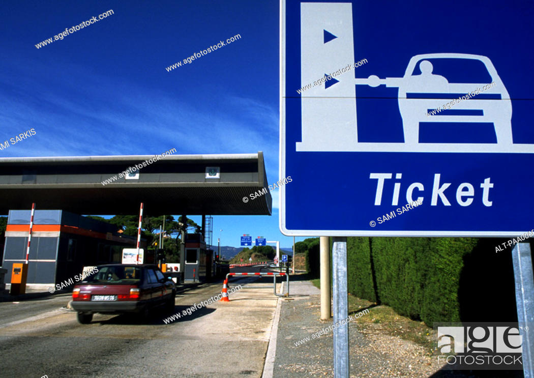 Stock Photo: Toll booths for cars.