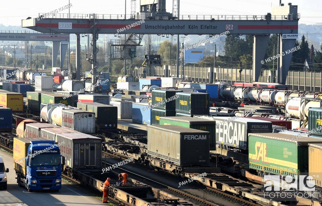 Stock Photo: Freight trains and trucks are parked at the Eifeltor reloading station in Cologne, Germany, 06 November 2014. Germany's train drivers' union 'Gewerkschaft.
