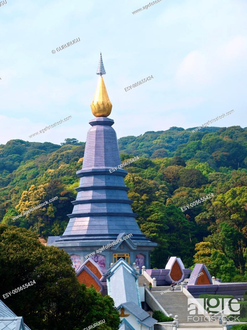 Stock Photo: Phra Mahathat Napapolphumisiri temple on Doi Intanon mountain, Chiang Mai, Thailand.