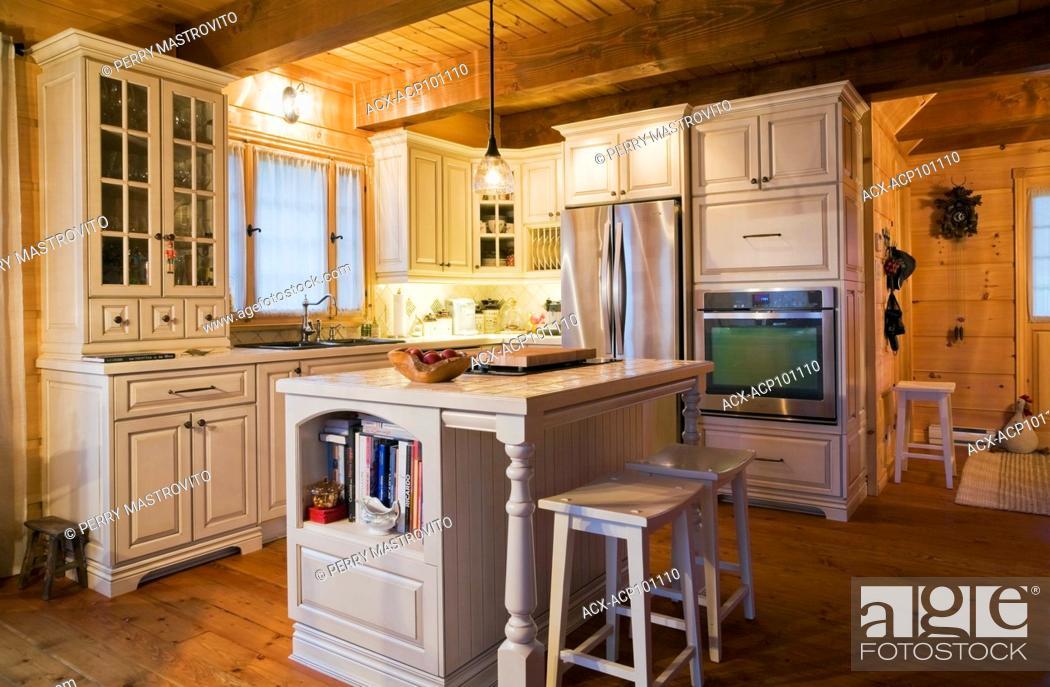 Cream White Wooden Cabinets Island