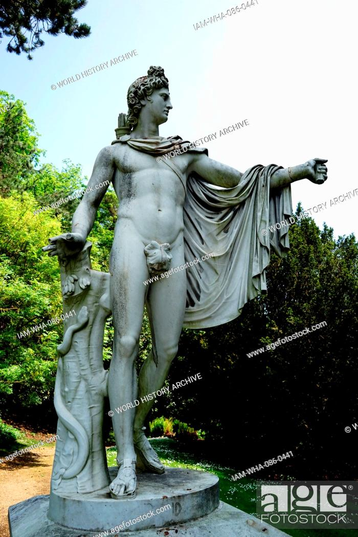 Stock Photo: View of a Roman style statue in the gardens of Waddesdon Manor, a country house in the village of Waddesdon. Built in the Neo-Renaissance style of a French.