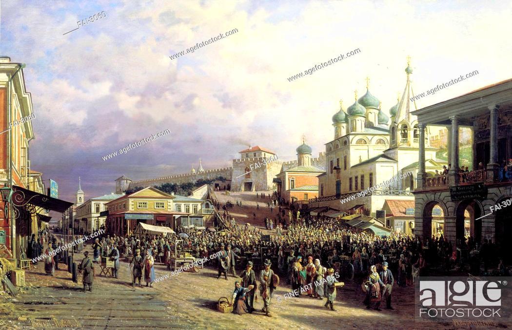 Stock Photo: Market in Nizhny Novgorod. Vereshchagin, Pyotr Petrovich (1836-1886). Oil on canvas. Russian Painting of 19th cen. . 1872.