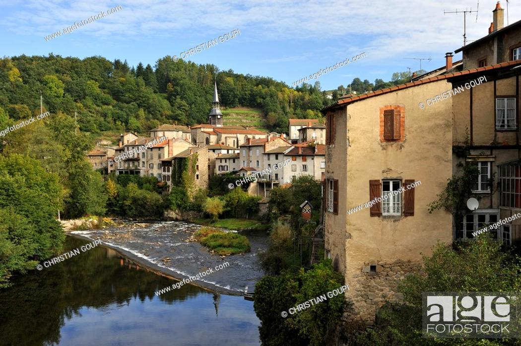 Stock Photo: village of Olliergues on the Dore river, Livradois-Forez Regional Nature Park, Puy-de Dome department, Auvergne region, France, Europe.