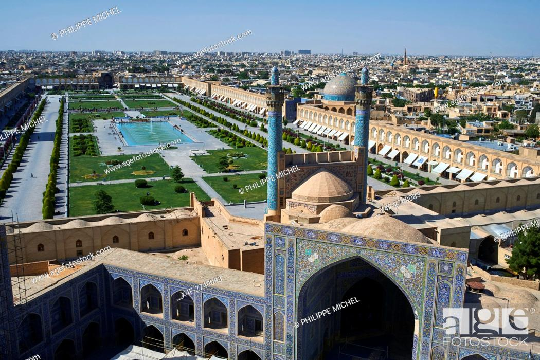 Stock Photo: Iran, Isfahan, general view of the Imam Square, Jameh Mosque or Friday mosque, Sheikh Lotfollah mosque.
