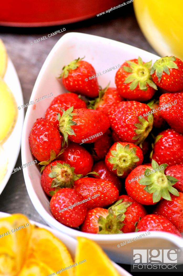 Stock Photo: Strawberries at breakfast. Viscos, Hautes-Pyrenees department, South western France.