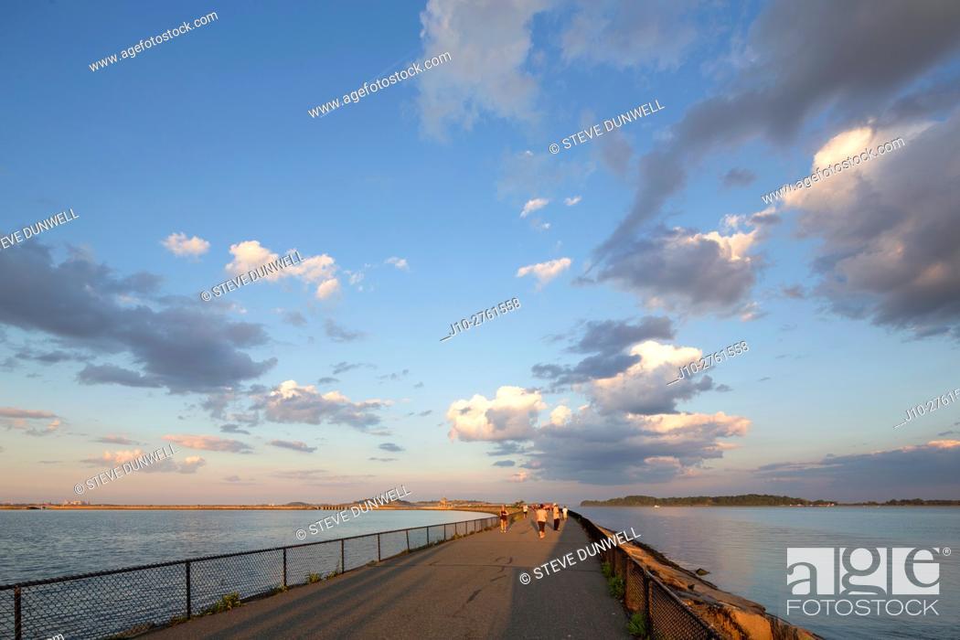 Stock Photo: Clouds, Castle Island, low tide, South Boston evening, Boston, Massachusetts, USA.