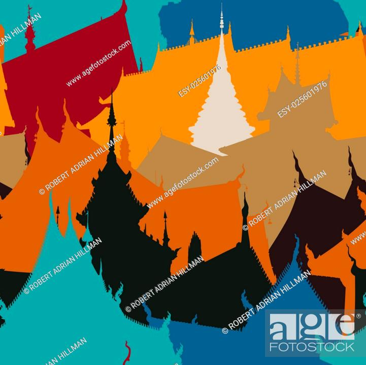 Stock Vector: Colorful editable vector seamless tile of Buddhist temple buildings.
