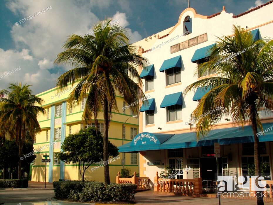 Stock Photo Miami Beach South Fl Florida Ocean Drive American Riviera Art Deco District Paradise Hotel