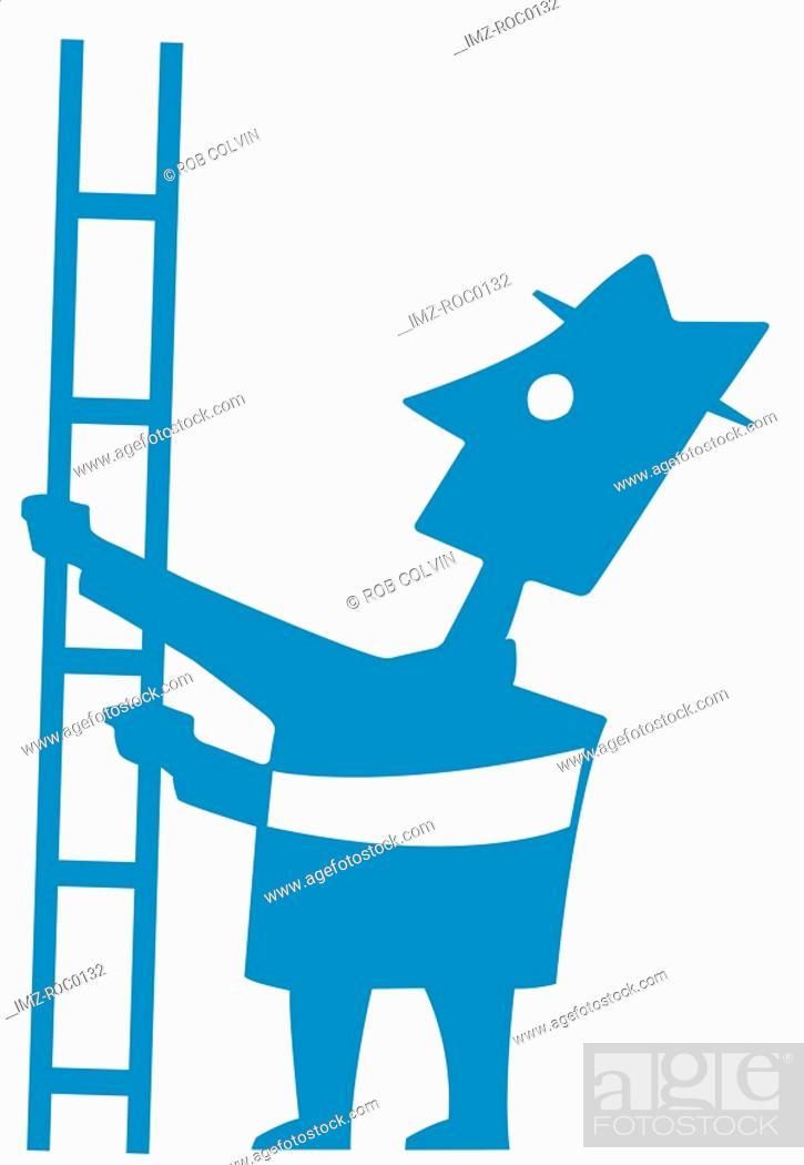 Stock Photo: Man holding ladder.