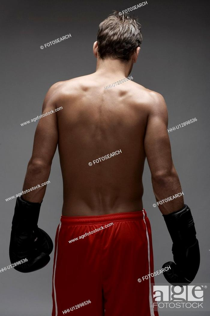 Stock Photo: Rear view of boxer.
