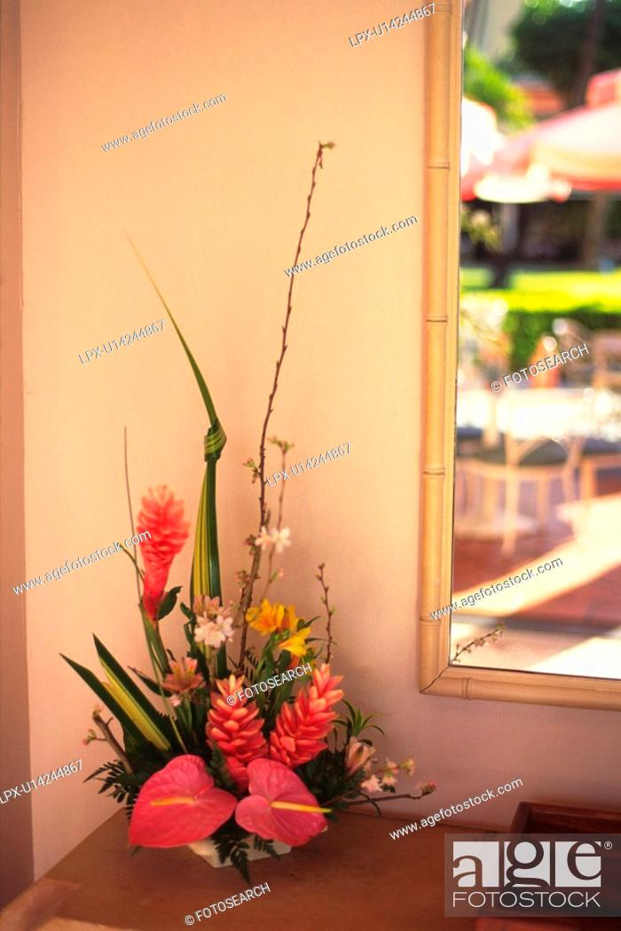 Stock Photo: Flower Arrangement by the Wall, Differential Focus.