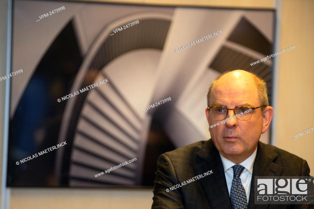 Stock Photo: Minister of Justice Koen Geens pictured during a press conference after a meeting with the King at the Royal Palace in Brussels, Friday 14 February 2020.