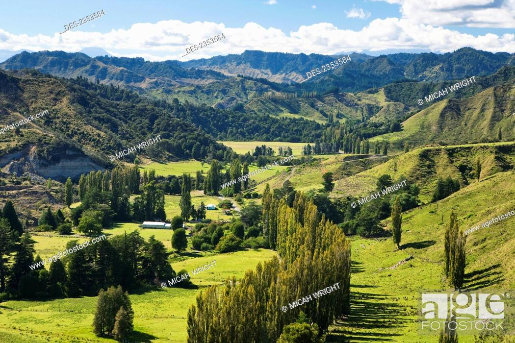 Stock Photo: Blue Duck lodge, a working New Zealand farm located in the Whanganui National park; Whakahoro, New Zealand.
