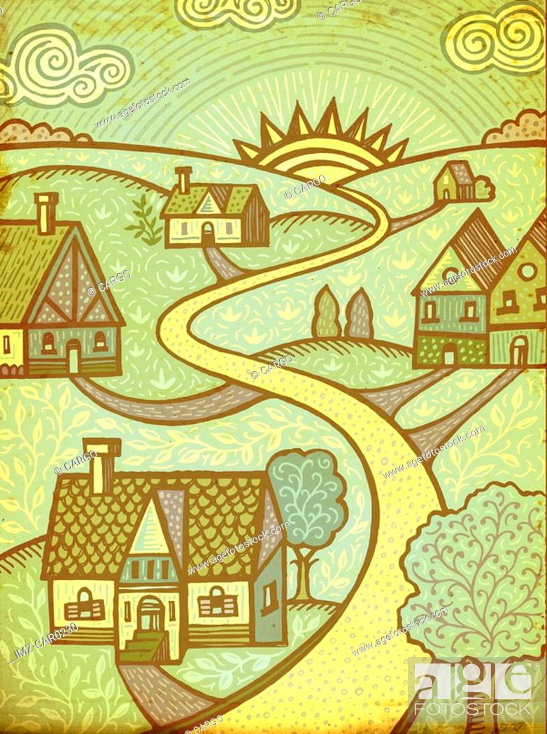 Stock Photo: A group of houses with a middle lane leading to the sun.