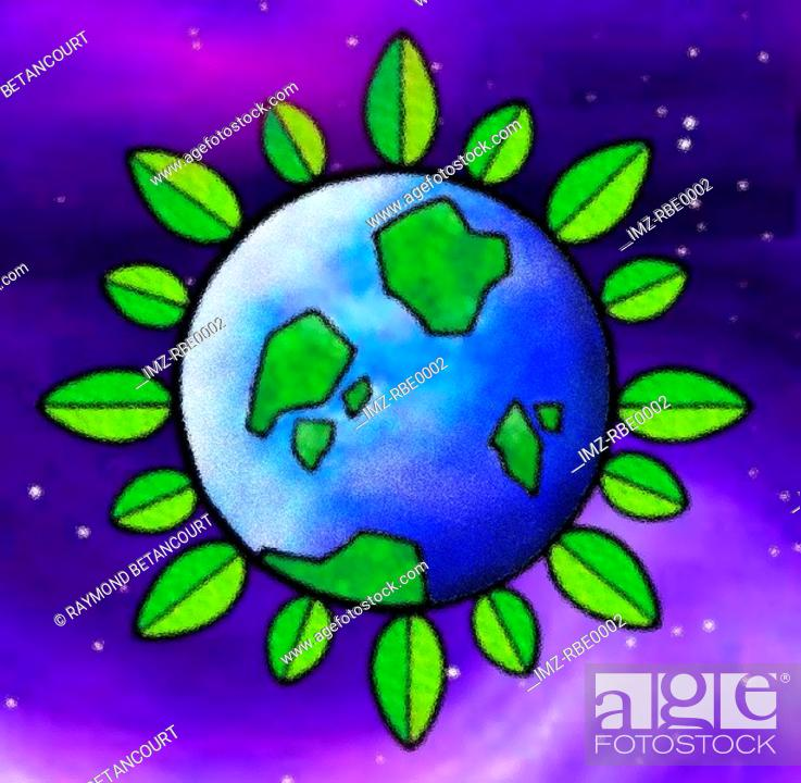 Stock Photo: A graphical representation of a growing earth.