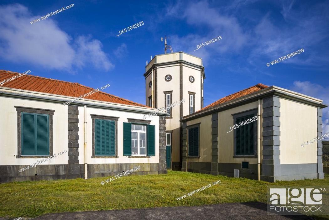 Stock Photo: Portugal, Azores, Faial Island, Horta, the Observatorio Principe Alberto de Monaco observatory.