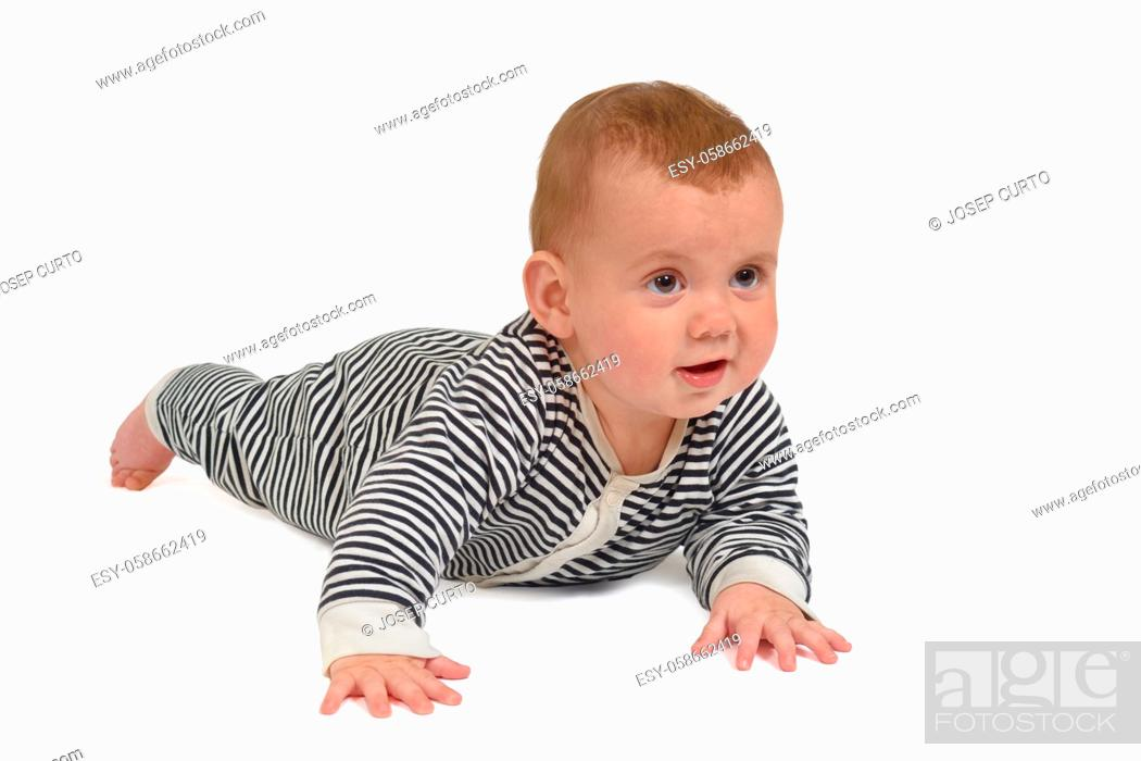 Stock Photo: baby crawling on the floor looking forward on white background.