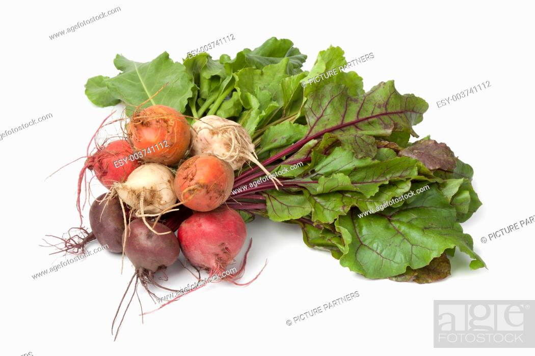 Photo de stock: Bunch of fresh mixed color beets on white background.