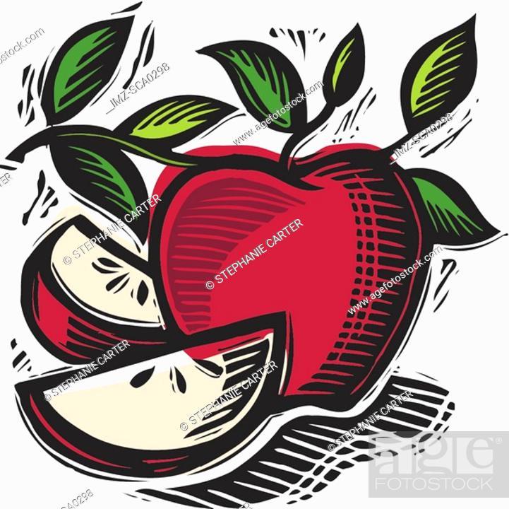 Stock Photo: freshly sliced apples.