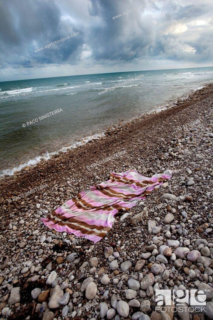 Stock Photo: abandoned towel.