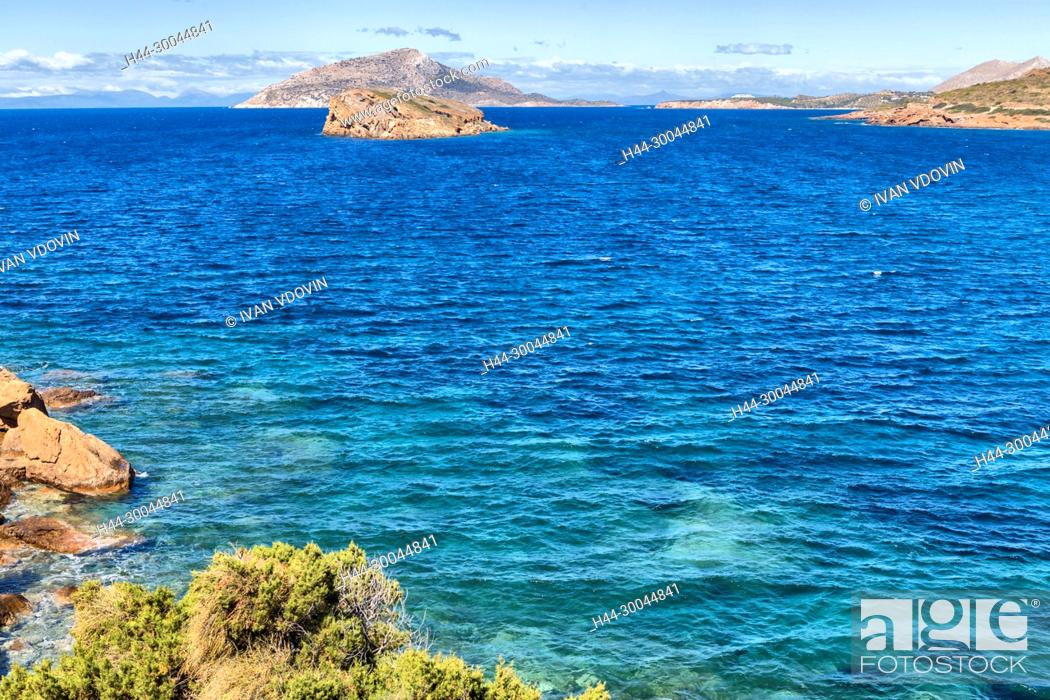 Stock Photo: Aegean sea coast, Cape Sounio, Sounion, Attica, Greece.