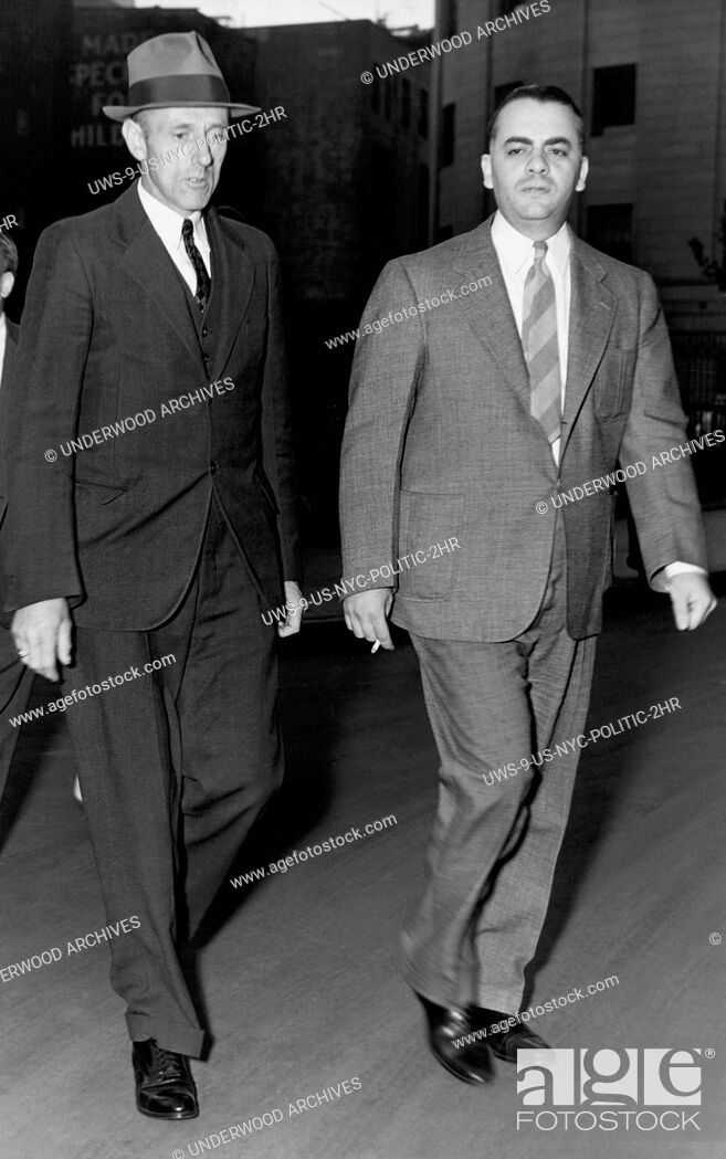 Stock Photo: New York, New York: August 26, 1938 Dudley Brothwell leaving the court after testifying that he saw Tammany District Leader James J.
