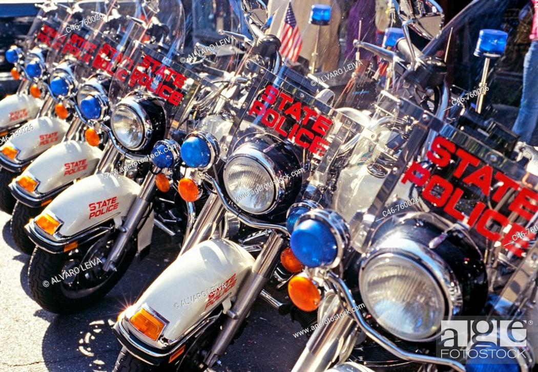 Stock Photo: State police bikes, Bourbon Street, French Quarter, New Orleans, Louisiana, USA.