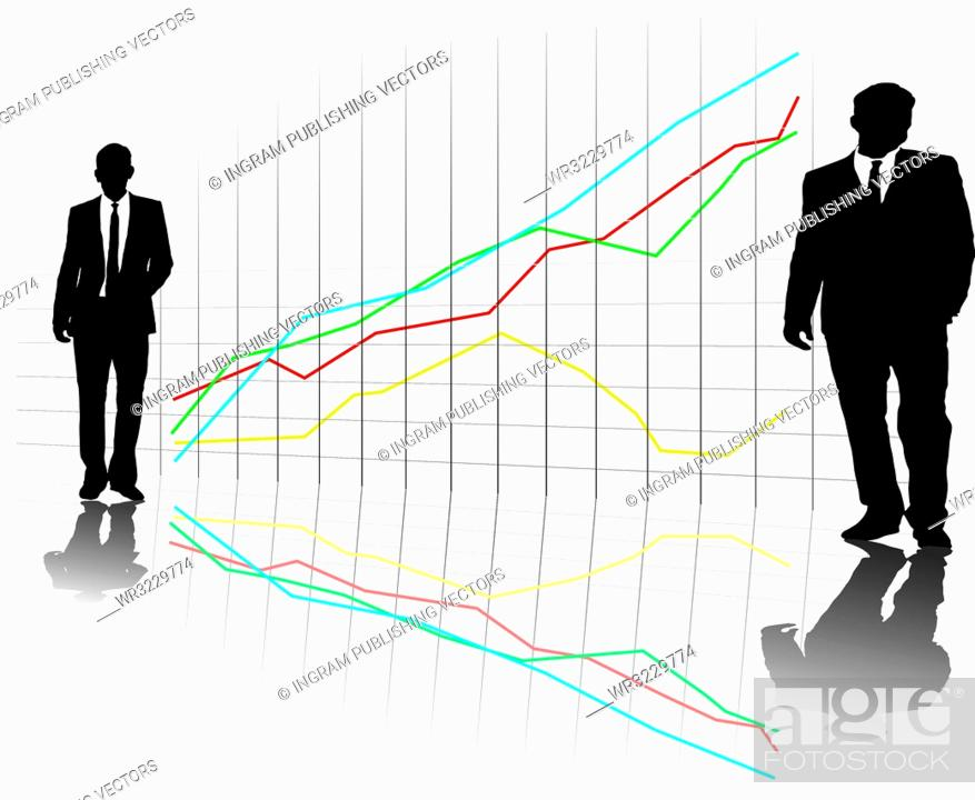 Vector: A group of business men in a line up on a grid with a chart in the background.