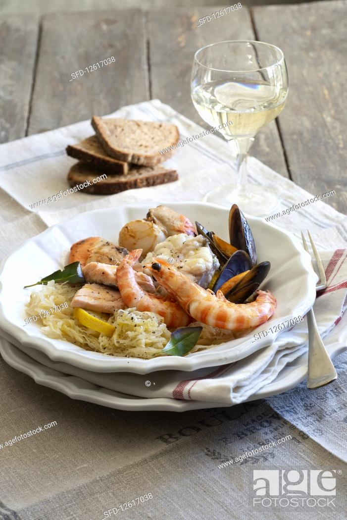 Stock Photo: Choucroute with seafood (Alsace).