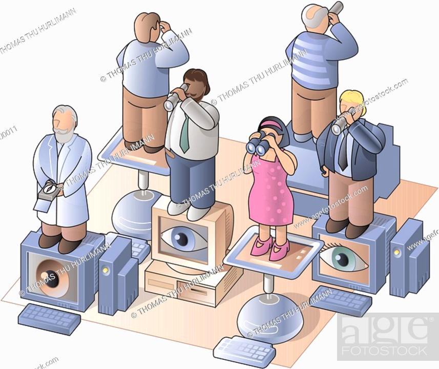 Stock Photo: People standing on computers and looking out with telescopes and binoculars.