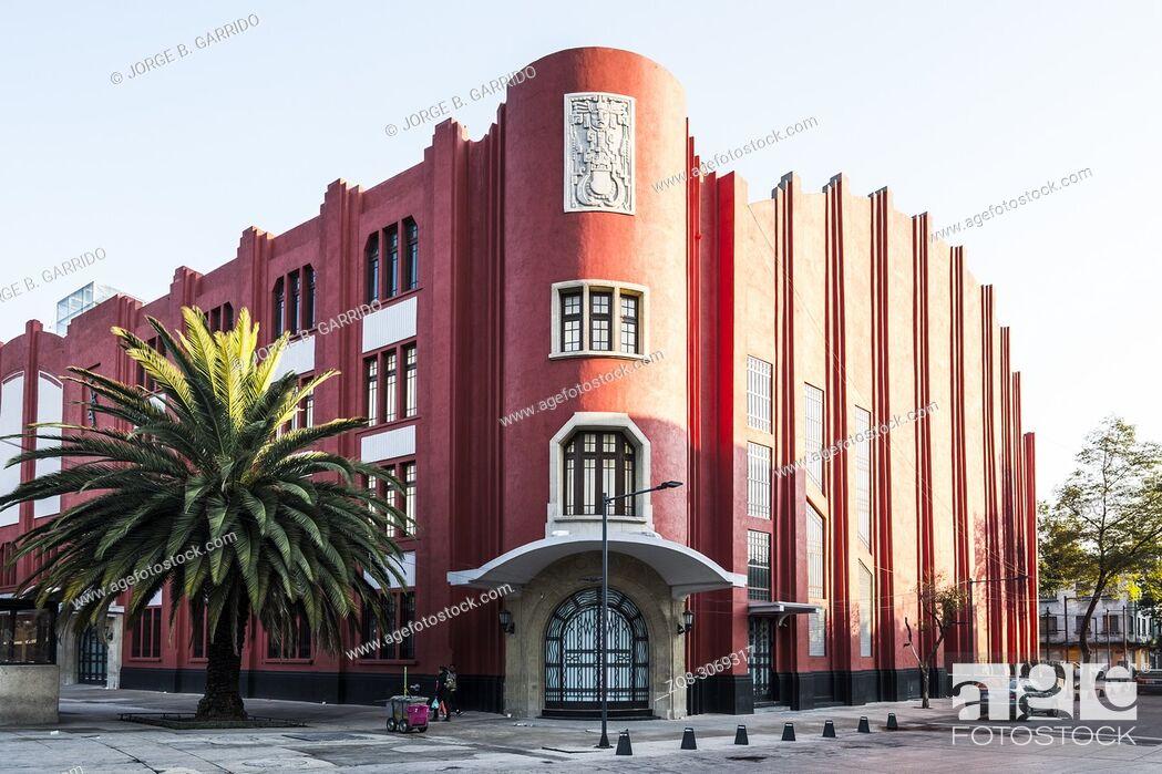 Stock Photo: Fronton Mexico Building, Plaza de la Republica, CDMX, Mexico City.