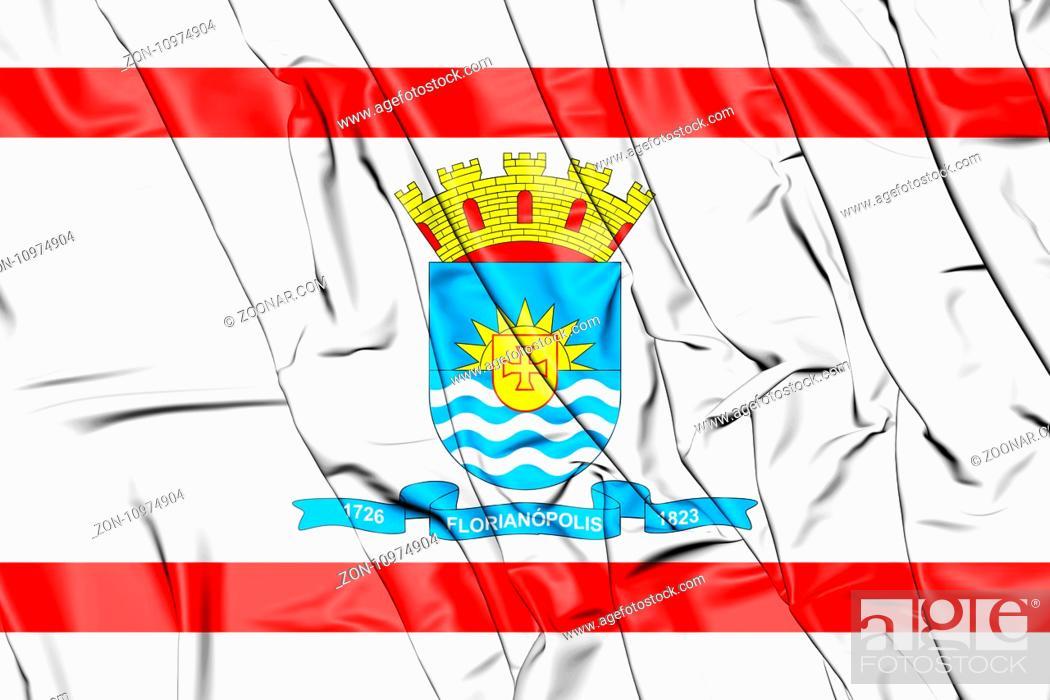 Stock Photo: 3D Flag of Florianopolis, Brazil. 3D Illustration.