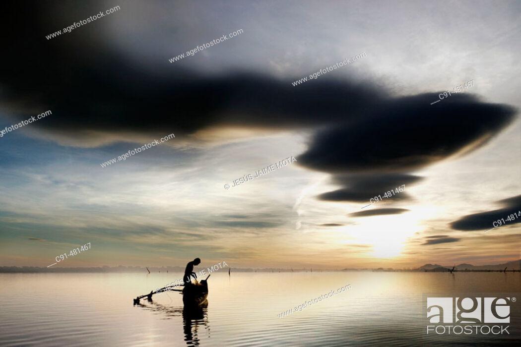 Stock Photo: Evening with catamaran. Sri Lanka.