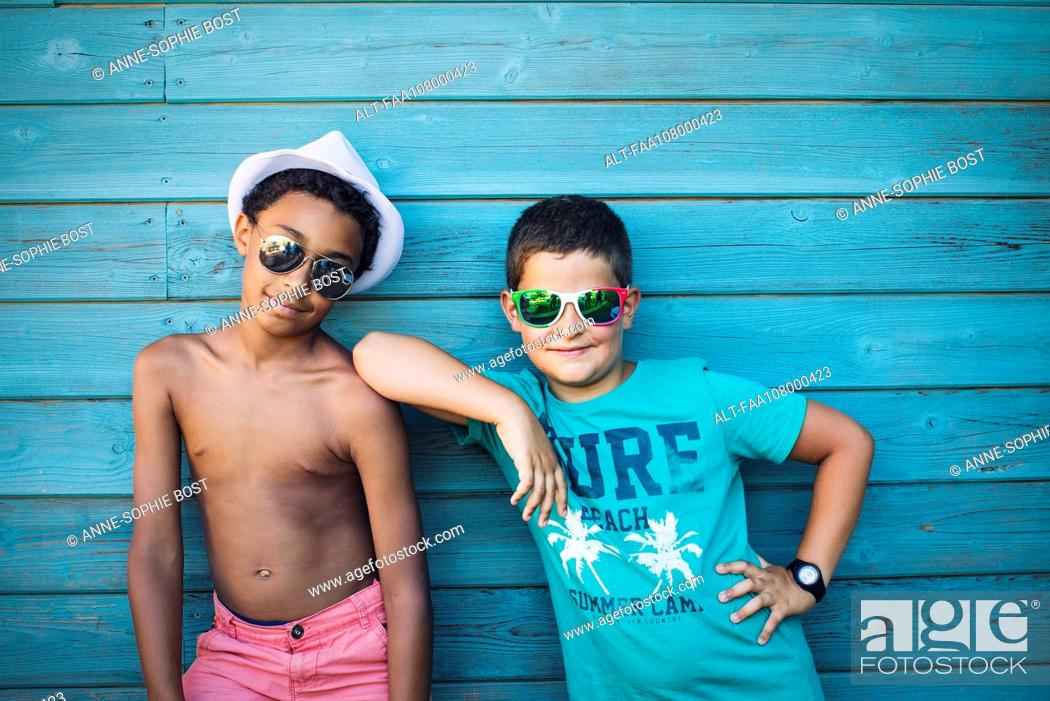 Stock Photo: Boys with sunglasses.