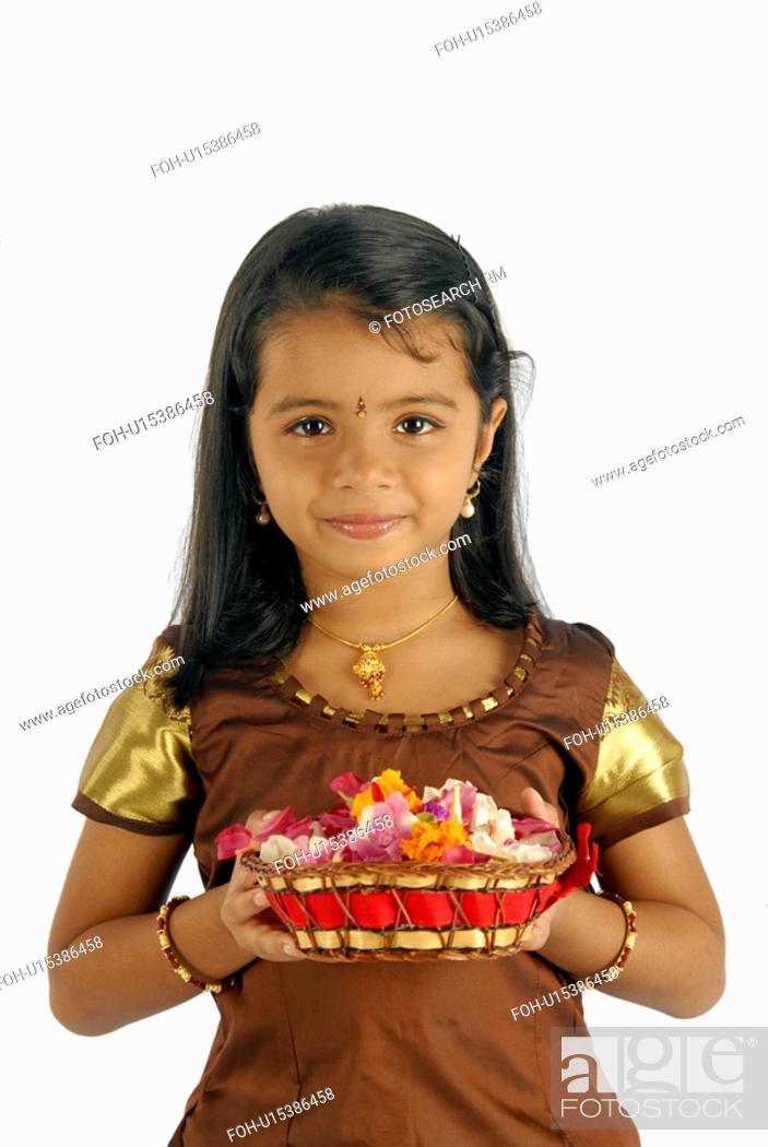 511f9dd542 flowers girl child model kerala in attire onam, Stock Photo, Picture ...